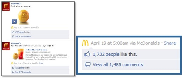 Facebook McDonalds Likes Comments