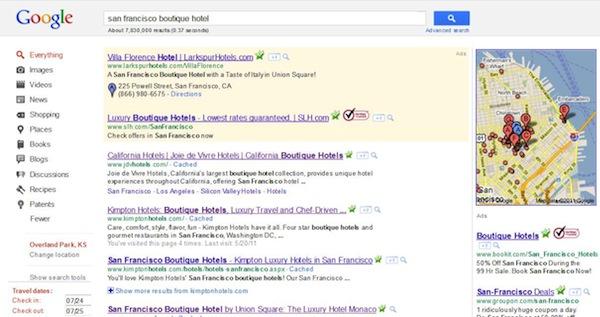 Google San Francisco Boutique Hotel 2011 SERP