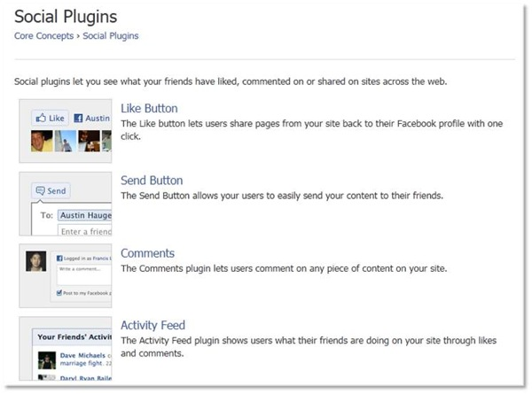 Social Plugins Like Send Comments Activity