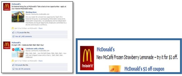 Facebook McDonalds Product
