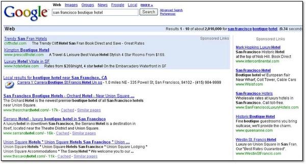 Google San Francisco Boutique Hotel 2005 SERP